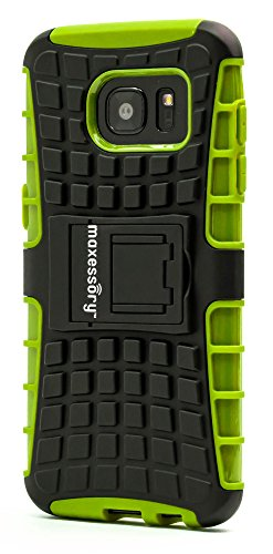 Samsung Galaxy S7 Edge Case, Maxessory Offroad Shock-Proof Rugged Dual-Layer Armor Rigid Ultra-Slim Kickstand Protective Hard Tough Hybrid Phone Cover Shell Green Black For Samsung Galaxy S7 Edge (Rubberized Case Cover Hardback)