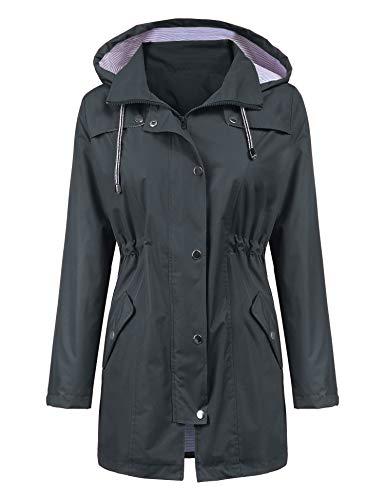 LOMON Raincoat Women Waterproof Long Hooded Trench Coats Lined Windbreaker Travel Jacket Deep Gray S