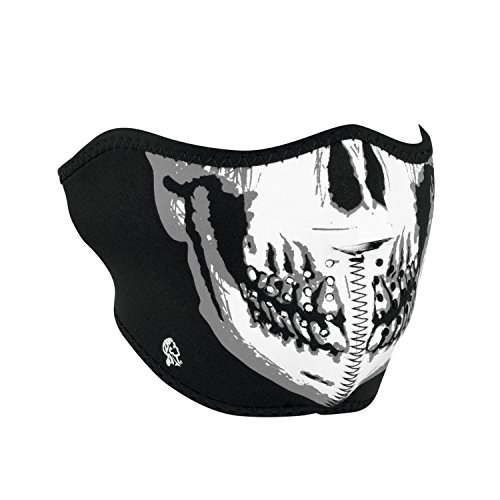 Zanheadgear WNFM002H Neoprene Half Face Mask, Black and White Skull Face