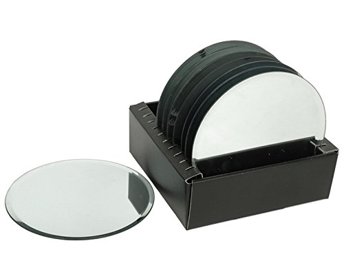 "Hosley's Set of 10 Glass Mirror Round Pillar Plates - 4.9"" D"