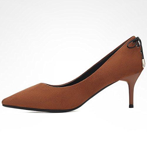 Zapatos para mujer HWF Moda Nubuck Acentuado High Heels Shallow Mouth (Color : Marrón, Tamaño : 40) Marrón