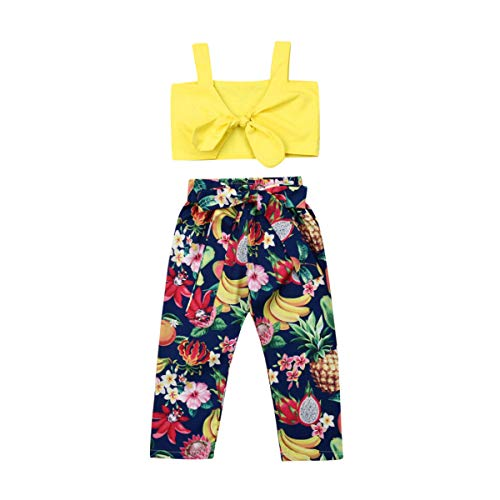 Toddler Baby Girls Sleeveless Halter Crop Top T-Shirt Vest Fruit Long Pants Outfits Set 2-7Y (5-6Y, Yellow+Blue) ()