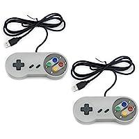 QUMOX 2 x Nintendo Juego de PC Gamepad Controlador SFC Mando de Juego para Super Famicom Windows PC USB