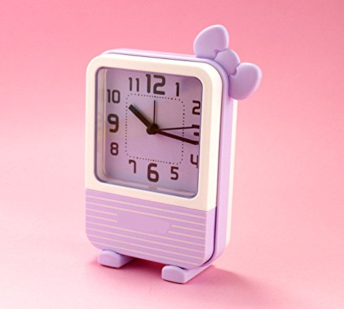 Heylookhere Quiet and Practical Lovely Kids Children Students Silent Bowknot Alarm Clock with Light (Purple)