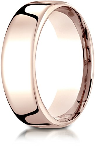 Benchmark 14K Rose Gold 7.5mm European Comfort-Fit Wedding Band Ring, Size 11.5 ()