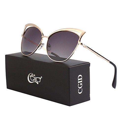 Dorado MJ23 para Gafas de De mujer sol Gris CGID Gato Ojo Gafas 8OA8Tvn
