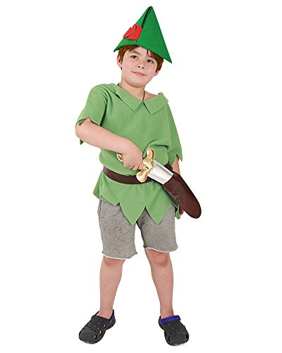 Coskidz Kids Peter Pan Cosplay Costume Including PU Sword and Hat (One Size) ()