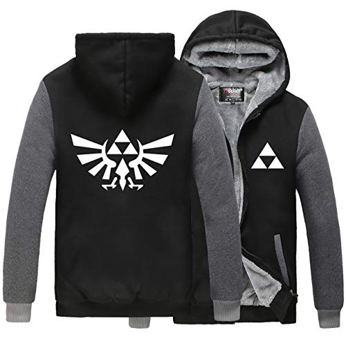 Poetic Walk The Legend of Zelda Cosplay Thicken Jacket Hoodie (Medium, Black&Gray) -