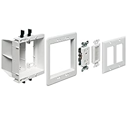 Arlington TVBU505K-1 TV Box Recessed Outlet Wall Plate Kit with Receptacle and Brush-Style Entry Device, 2-Gang, White, 1-Pack