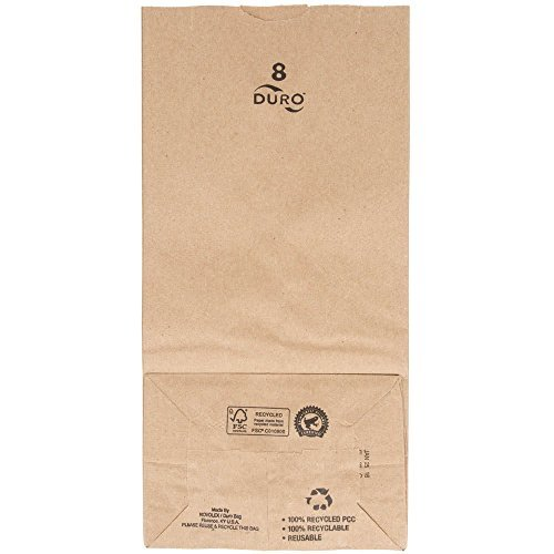 "Duro 8 lb. Capacity 6 1/8"" x 4 1/8"" x 12 7/16"" Kraft Brown Paper Bag - 35# Basis Weight 250 Ct."