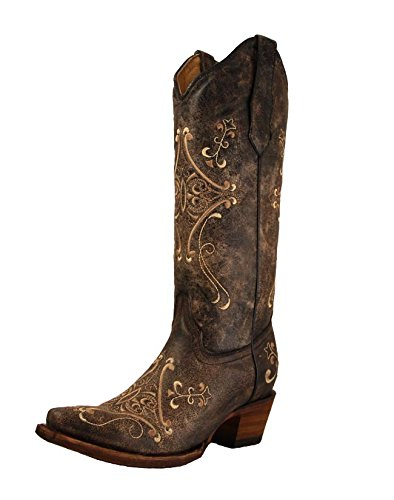 Corral Women's L5048 Scroll Embroidery Black Western Boots 9 M