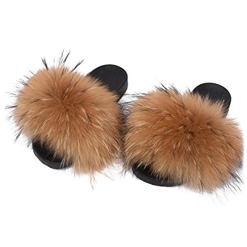 Valpeak Fur Slippers Slides For Women Open Toe Fuzzy Fur Slippers Girls Fluffy House Slides Outdoor (Bronze&black,9-10)