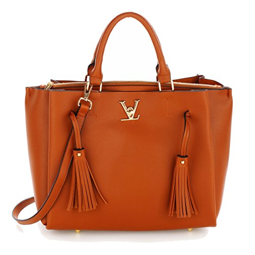 50 Women's Gorgeous SAVE FREE Handbag Tassel Shoulder Brown DELIVERY UK qvw7CR