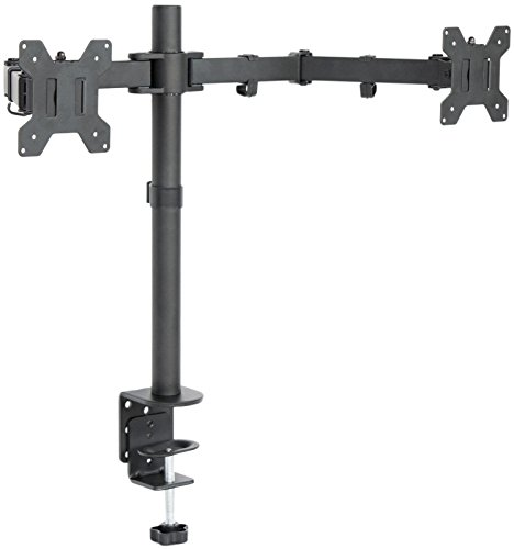 (MountDIY Dual Monitor Free Stand Horizontal Adjustable Height C-Clamp Mount Optional Grommet Base For 13-27 Inch Screens (Support VESA 75 & 100, Full Motion, Tilt, Swivel, Rotate, 22lbs Capacity))