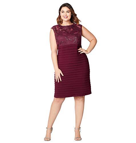 Avenue Women's Wine Sequin Shutter Pleat Dress, 16 Barbados Cherry