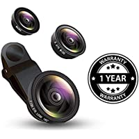 Shaarq Universal Clip Type 3 in 1 Magic Mobile Lens (Fish Eye, Wide Angle, Macro) Lens for All Android/Smartphones