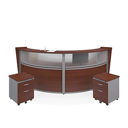 Modular Unit Reception (OFM Marque Series Plexi Double-Unit Curved Reception Station - Office Furniture Receptionist/Secretary Desk with Two Cherry Pedestals (PKG-55312-CHY))