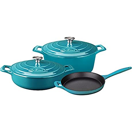 La Cuisine LC 2675MB 5 Piece Pro Enameled Cast Iron Round Casserole Cookware Set High Gloss Teal