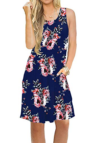 Akihoo Women's Summer Sleeveless Racerback Loose Swing Dress with Pockets Floral Print Casual Midi Dresses 0-Flower Mix Blue-86 M
