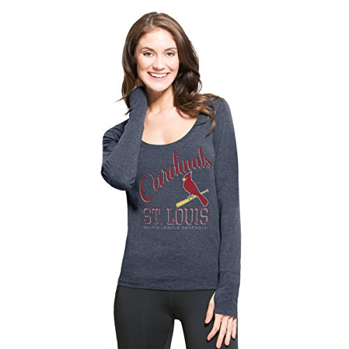 MLB St. Louis Cardinals Women's '47 Dash Long Sleeve Tee, Large, Shift Navy (Cardinals Louis Gear)