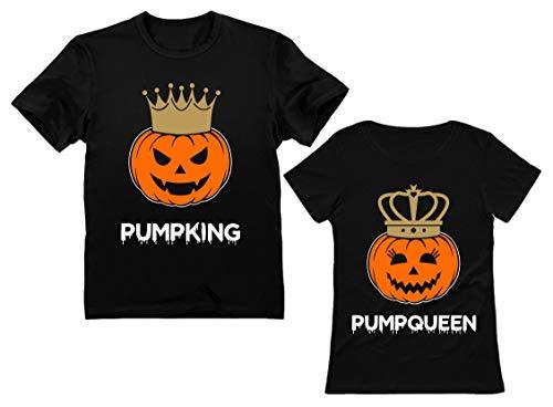Fun Services Halloween Costumes (Jack O' Lantern Halloween PumpKing PumpQueen Matching Couple Shirts Horror Night PumpKing Black X-Large/PumpQueen Black)