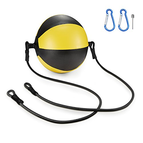 KUYOU Boxing Double End Speed Ball,Leather Boxing Ball Speed Training Ball Double-end Bags Include 2pcs Ring Locking for Training Gym Exercise Agility - Yellow + Black (Boxing Speed Bag Clip)