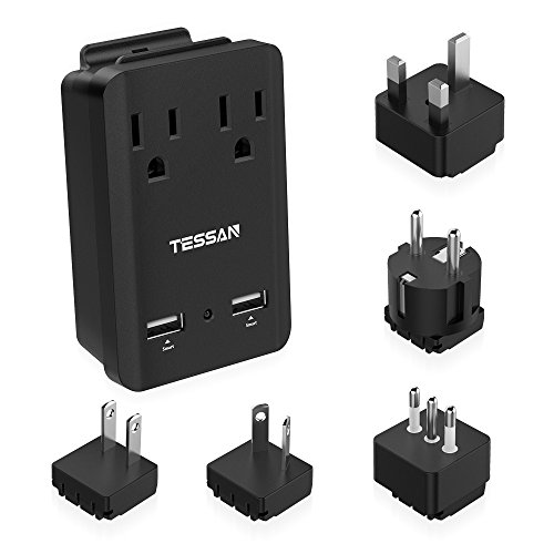 TESSAN 2000w Universal Travel Power Adapter Kit for Europe Italy UK Japan China Australia Dual USB Ports & Outlets With 5 International Plug Adapters Travel Charger Mini Portable by TESSAN