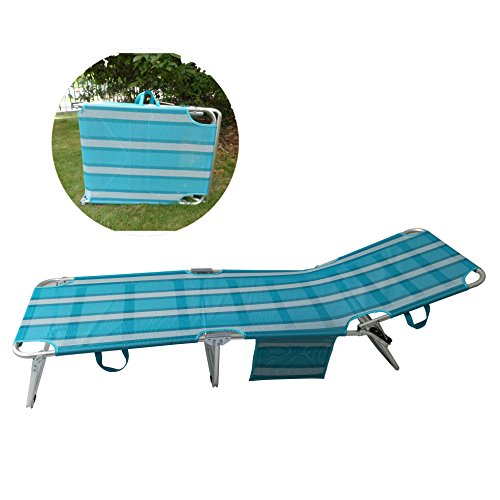 SPORT BEATS Beach Lounge Chair Aluminum Folding 4 Reclining Positions Chaise Lounge,Portable Folding Relaxer Bed for Garden/Yard/Pool/Beach