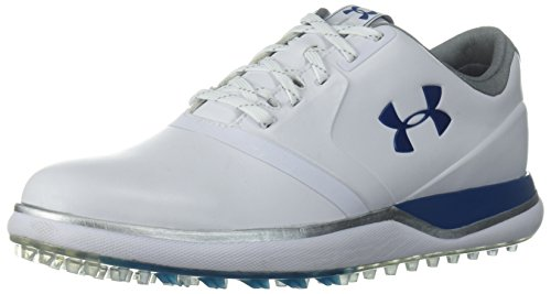 Under Armour Women's Performance Spikeless Golf Shoe, White (101)/Moroccan Blue, 6