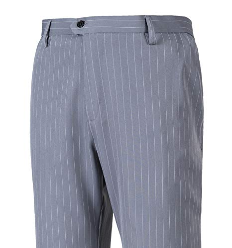 auguswu Men's Flat Front Slim Fit Wool Chambray Pinstripe Suit Separate Pant 34W¡Á30L Grey