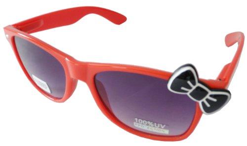 Sanrio Hello Kitty Style Designer Inspired Classic Wayfarer Sunglasses - Red Frame with Black -