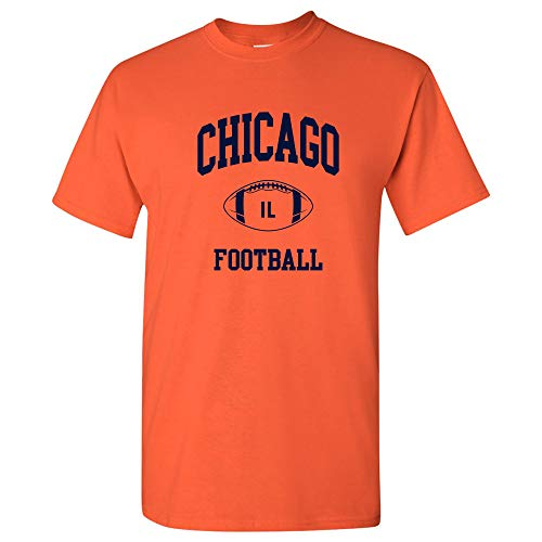 Chicago Classic Football Arch Basic Cotton T-Shirt - Small - Orange