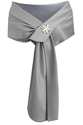 (Satin Shawl Wrap Wedding Silky Shrug for Women's Formal Party Shawl (Silver))