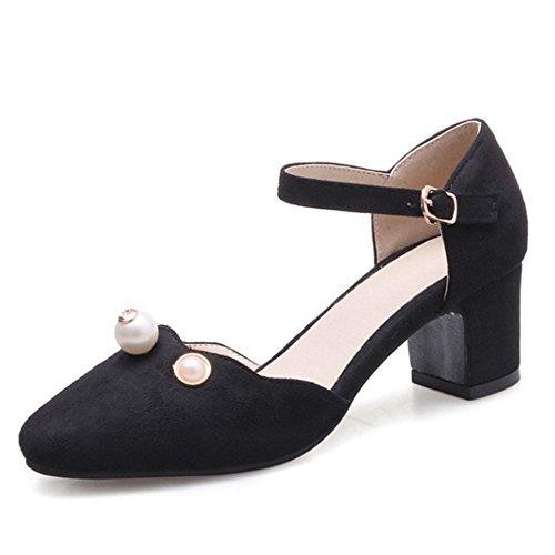 Dressy Sandaler Med Kvinner Materail Nubuck Lav For Chunky Svart Størrelse Og Mote Hæl Store Sjjh S8qAwd8