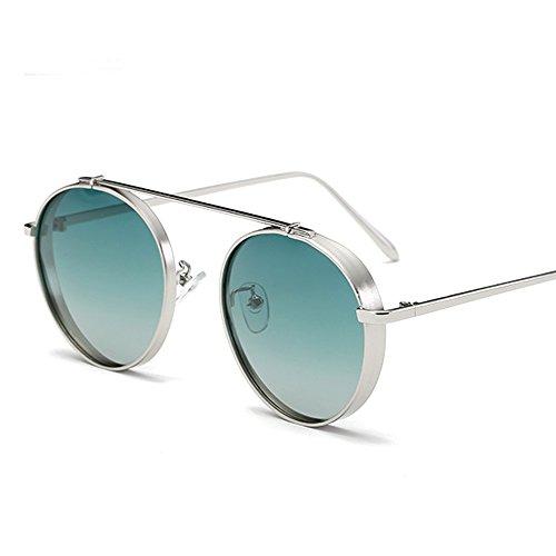 VeBrellen Round Clear Glasses Women polarized Sunglasses Men Driving Glasses (Silver Frame With Green Lens, - Lv Glasses Mens