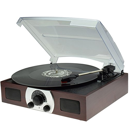 Digitnow Portable Belt Drive 3 Speed Stereo Turntable with Built in Dynamic Stereo Speakers, Analog AM/FM Stereo Radio and Audio Source Line in Natural Wood
