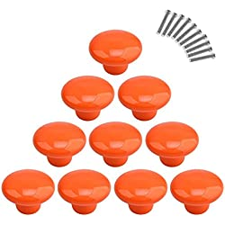 10Pcs Dresser Knobs, YIFAN Cute Drawer Puls for Kids' Room Ceramic Door Cabinet Handles - Orange