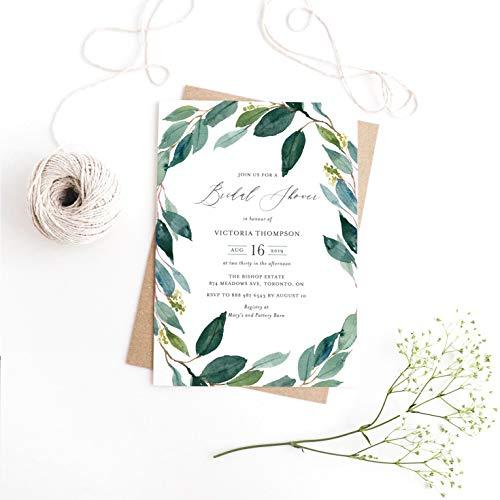 Dozili Bridal Shower Invitation Watercolor Eucalyptus Wreath Bridal Shower Invitation Greenery Invitation