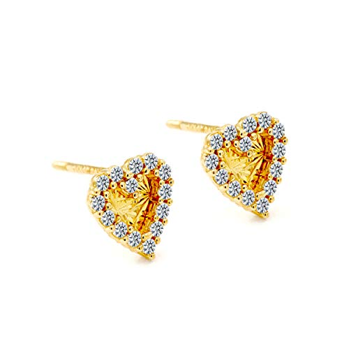 Balluccitoosi 14k Gold Tiny Stud Earrings for Women & Girls - Real Hypoallergenic, Small & Minimalist (14k Diamond Cut Heart CZ Stud Earrings) 14k Diamond Cut Heart