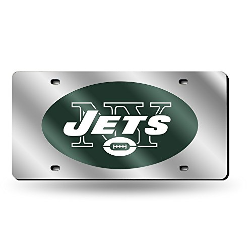 Rico Industries NFL New York Jets Laser Inlaid Metal License Plate Tag, Silver