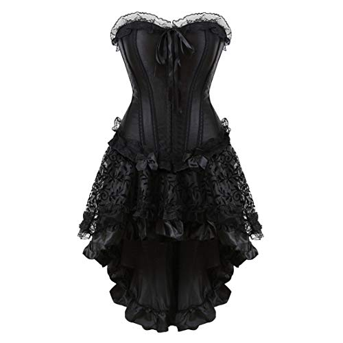 Zhitunemi Women Halloween Costume Gothic Victorian Corsets Burlesque Dresses Moulin Rouge Black Large -