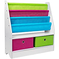 Children Kids Canvas Toys Storage Boxes Wooden Sling Book Storage Rack Shelf Shelves Holder Stand Bookcase Bookshelf for Baby Nursery Room Bedroom