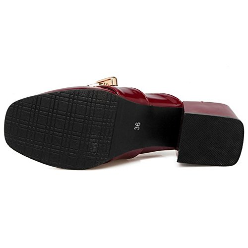 Closed Damenmode Claret TAOFFEN Mules Schuhe Toe 61Rn5Pnq