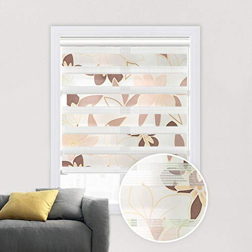 Blinds Light Filtering Orange (PASSENGER PIGEON Zebra Window Blinds, Premium Light Filtering Horizontal Dual Layer, Cord Loop Floral Window Shades, 46