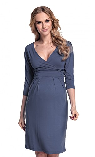 Happy Mama. Women's Maternity Jersey Baby Shower Dress. V-Neck 3/4 Sleeves. 001p (Blue Grey, - Dress Pleat Maternity Sleeve