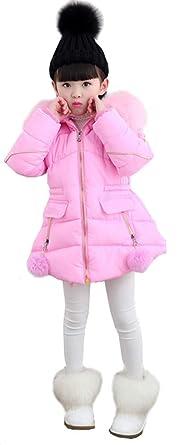 ecd88f363f45 LeeHaru Magike Manteau Bébé Fille Enfants Automne Hiver Manteau Doudoune  avec Fourrure Fausse Vêtements Chauds d