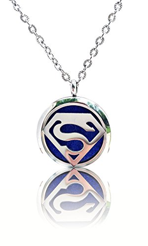 FIKA Superman Superhero Aromatherapy Essential Oils Necklace Pendant Air Freshener Locket Pads included (Vials Dilution)