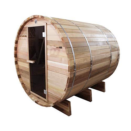 ALEKO SB6CEDAR Rustic Red Cedar Indoor Outdoor Wet Dry Barrel Sauna with Front Porch Canopy and 6 kW ETL Certified Heater 6 Person 83 x 72 x 75 Inches