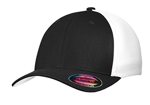 Port Authority - Flexfit Mesh Back Cap. C812 - S/M-- Black / Black (Flexfit Authority Hat Port Mens)