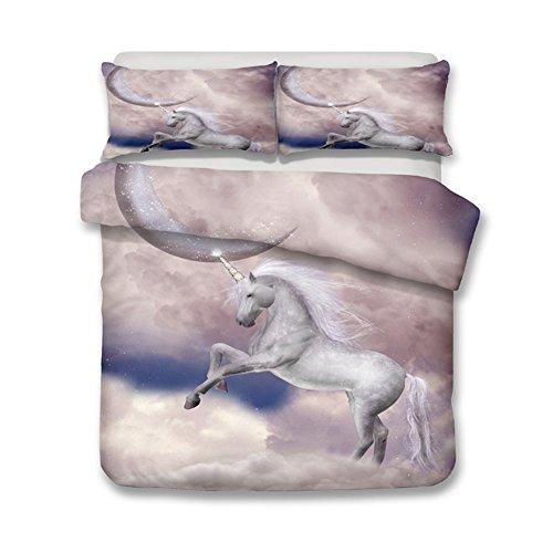 (alibalala 3D Unicorn Bedding Horse Comforter Cover Set, 3 Pieces Duvet Cover Set Digital Print Bedding Set, King Size (2 Pillowcases, 1 Duvet Cover))